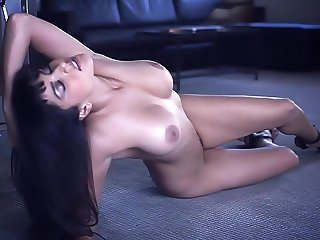 Naked babe Sunny Leone on the office floor