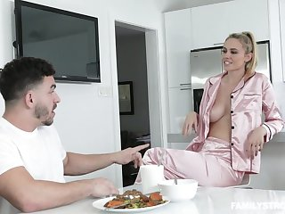 Sexy stepmom in pajamas Addie Andrews seduces her handsome stepson